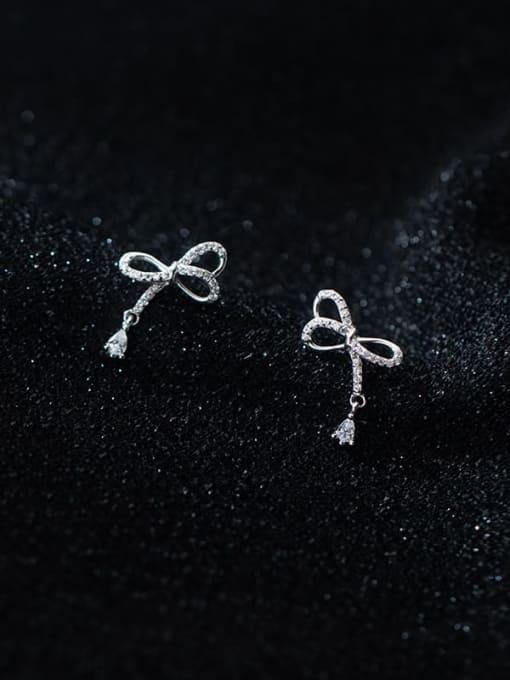 Rosh 925 Sterling Silver Cubic Zirconia Bowknot Minimalist Stud Earring 0