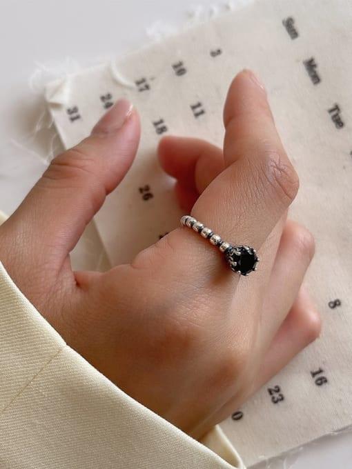 Xiangyunjie J143 2.9g 925 Sterling Silver Hollow Geometric Vintage Band Ring