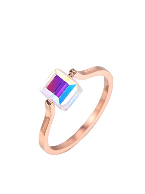 rose gold Titanium Steel Cubic Zirconia Square Minimalist Band Ring