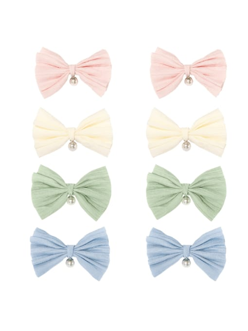 YOKI KIDS Alloy Cotton Cute Bowknot  Multi Color Hair Barrette 0