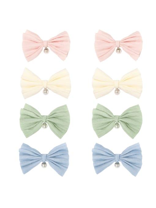 YOKI KIDS Alloy Cotton Cute Bowknot  Multi Color Hair Barrette