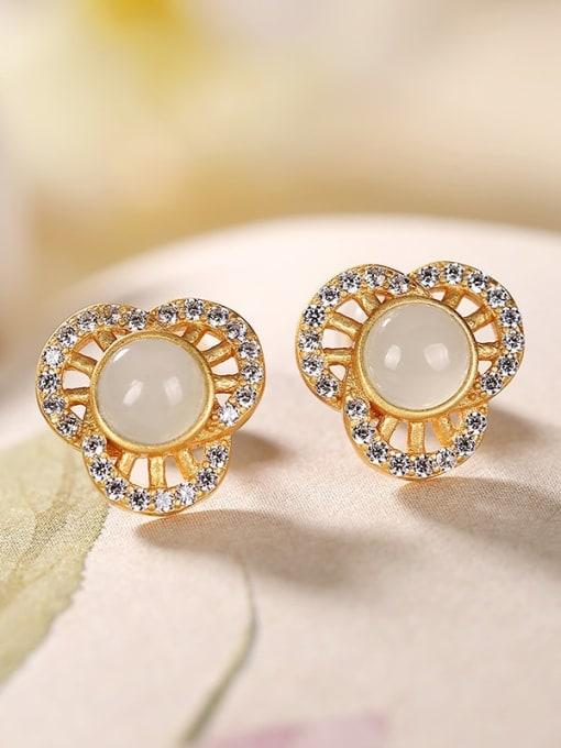 DEER 925 Sterling Silver Jade Flower Vintage Stud Earring