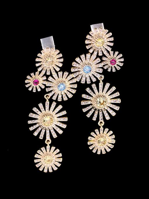 Red Brass Cubic Zirconia Flower Luxury Cluster Earring