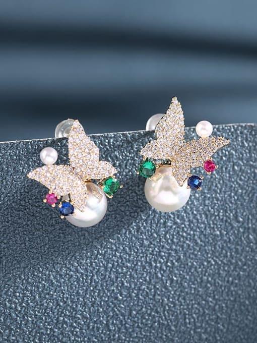Luxu Brass Cubic Zirconia Butterfly Luxury Stud Earring 1