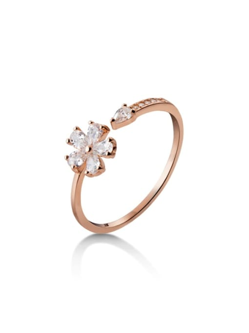 Rosh 925 Sterling Silver Cubic Zirconia Flower Minimalist Band Ring 3