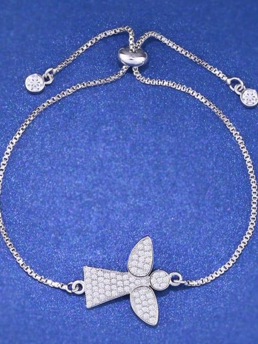 CC Brass Cubic Zirconia Angel Minimalist Link Bracelet 3