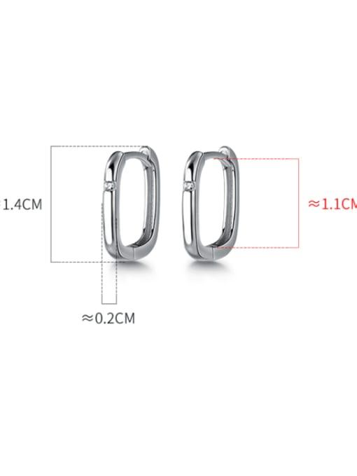 Rosh 925 Sterling Silver Hollow Geometric Minimalist Huggie Earring 2