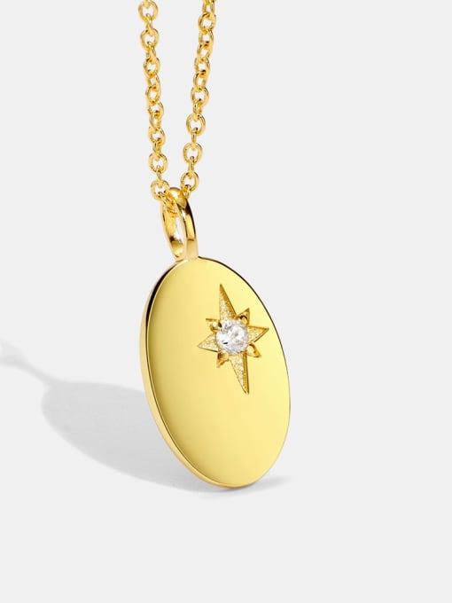 CHARME Brass Cubic Zirconia Oval Minimalist Necklace