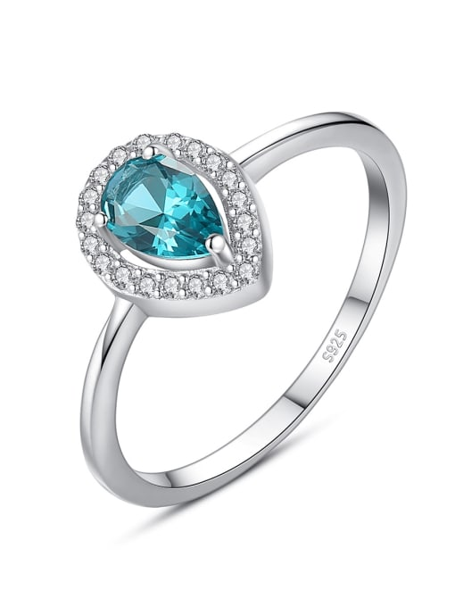CCUI 925 Sterling Silver Cubic Zirconia Water Drop Dainty Band Ring 0