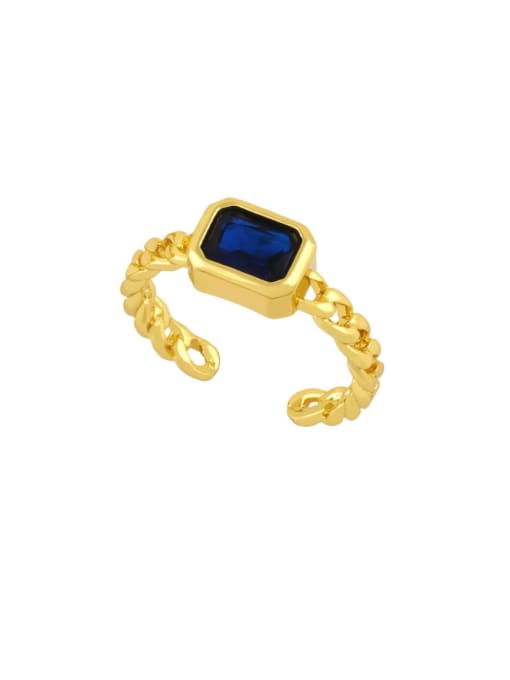 blue Brass Cubic Zirconia Geometric Vintage Band Ring