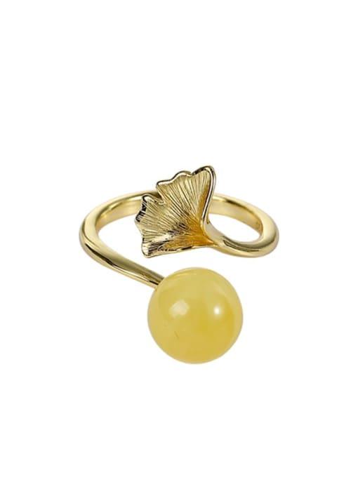 DEER 925 Sterling Silver Amber Leaf Vintage Band Ring 0