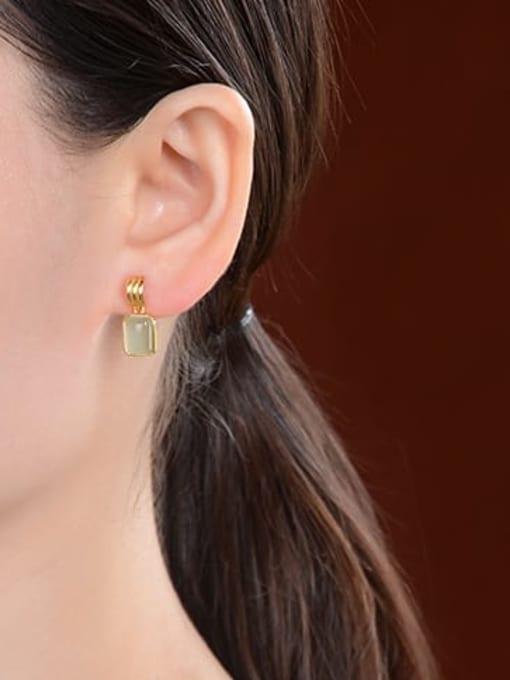 DEER 925 Sterling Silver Jade Geometric Vintage Drop Earring 3
