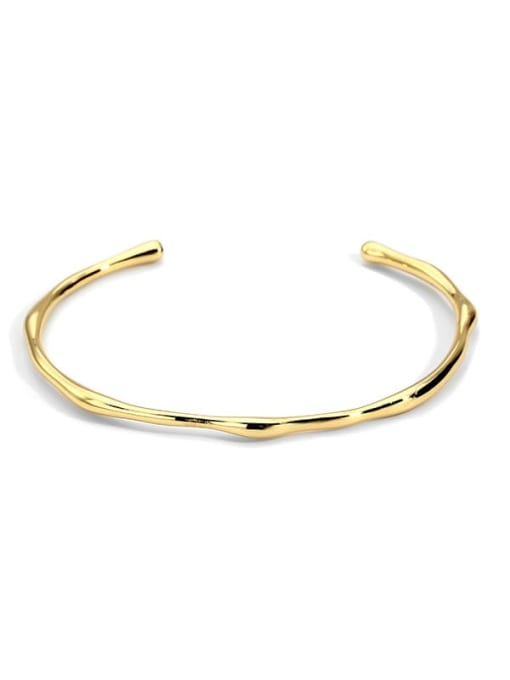 golden Brass Smooth Geometric Minimalist Cuff Bangle