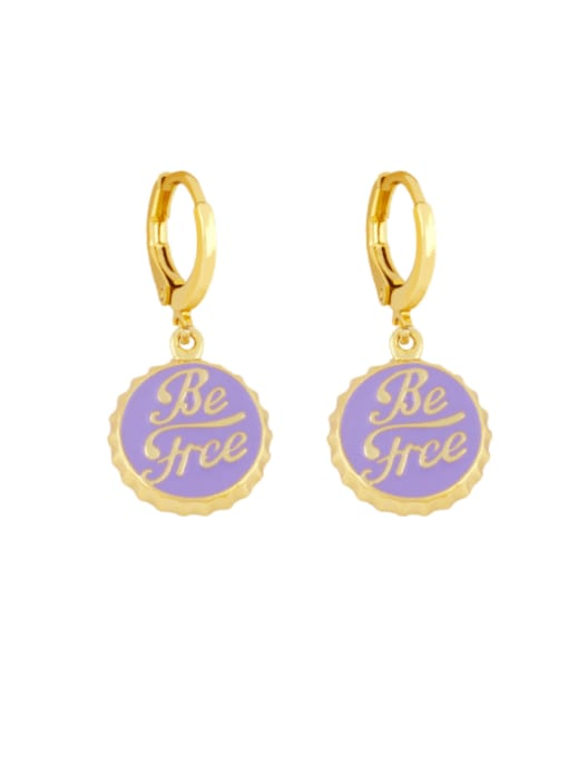 CC Brass Enamel Round Letter Vintage Huggie Earring 2
