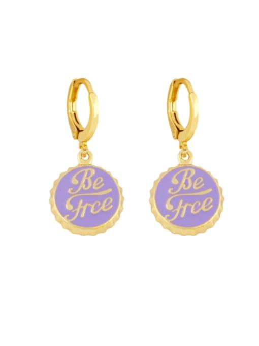purple Brass Enamel Round Letter Vintage Huggie Earring