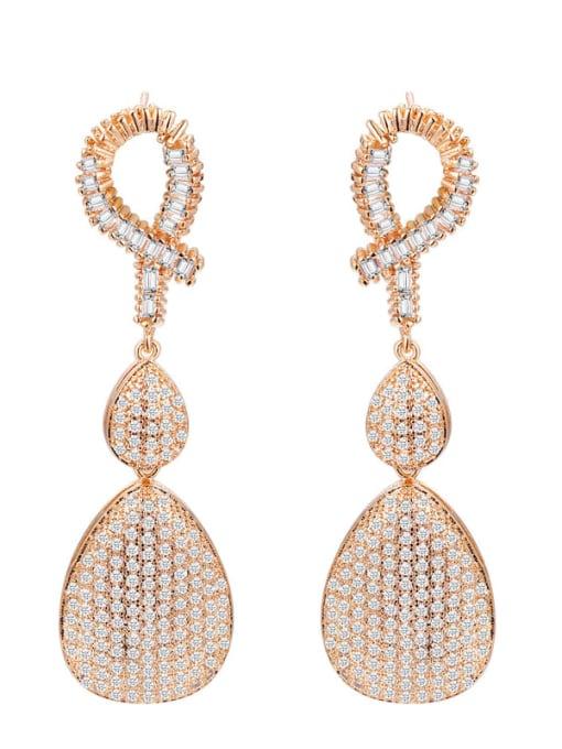 L.WIN Brass Cubic Zirconia Water Drop Luxury Drop Earring 0
