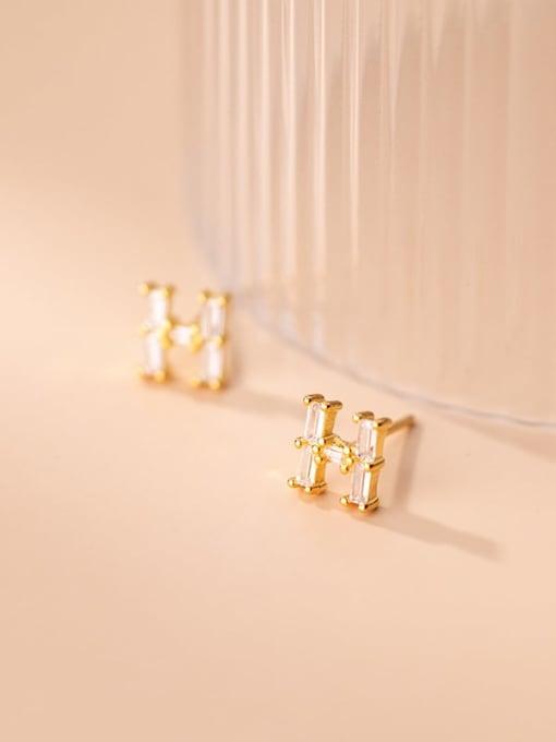 Rosh 925 Sterling Silver Cubic Zirconia Letter Minimalist Stud Earring 2