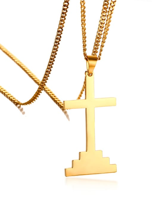 CONG Stainless steel Cross Hip Hop Necklace
