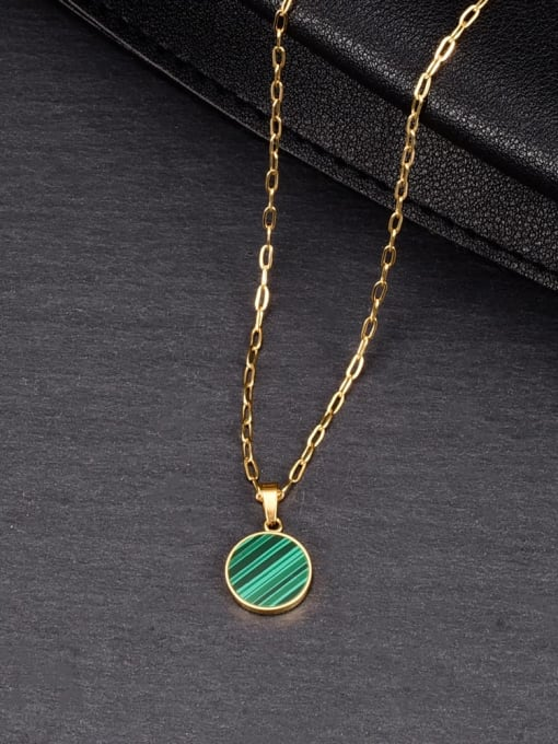 A TEEM Titanium Steel Enamel Round Minimalist Necklace 1