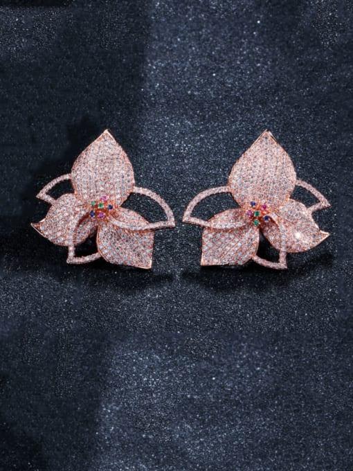 rose gold Brass Cubic Zirconia Flower Luxury Stud Earring