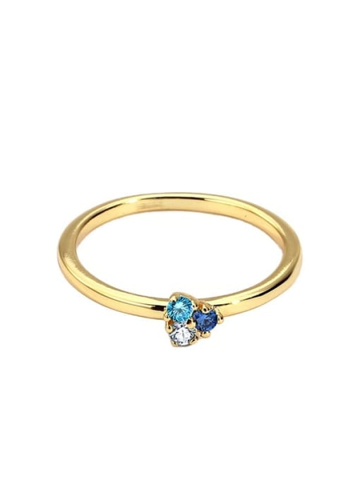 CHARME Brass Cubic Zirconia Flower Minimalist Band Ring 4