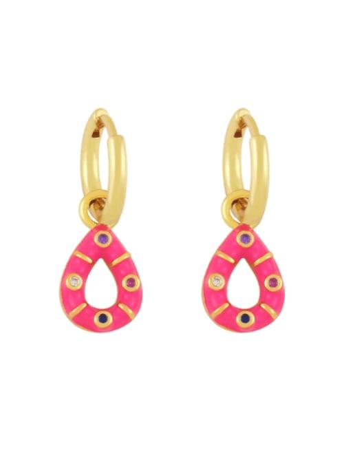 Rose red Brass Rhinestone Enamel Water Drop Vintage Huggie Earring