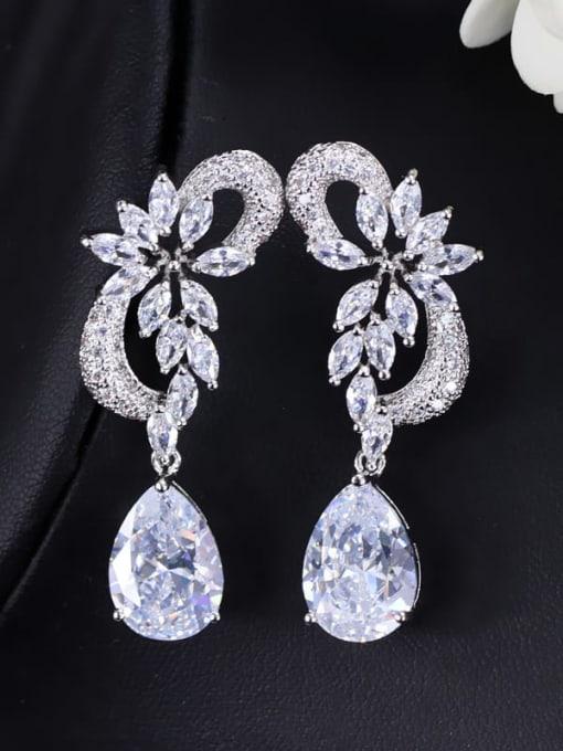 Earpin white Brass Cubic Zirconia Flower Luxury Drop Earring