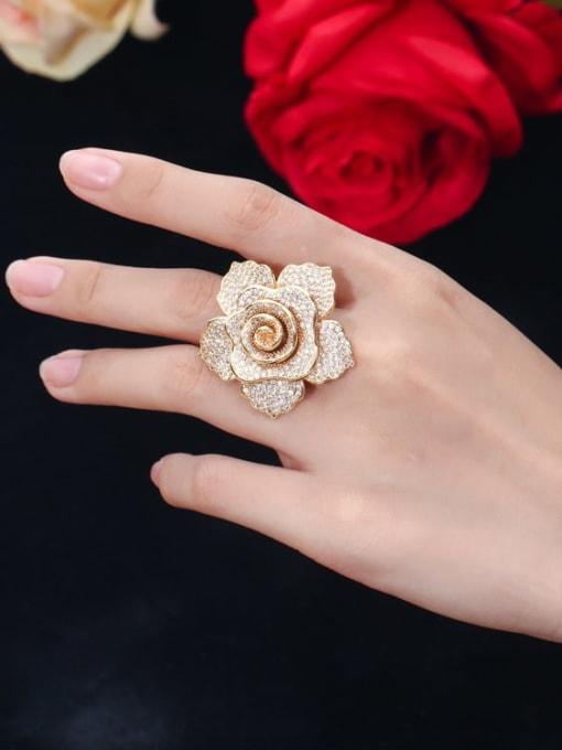 L.WIN Brass Cubic Zirconia Flower Luxury Statement Ring 2