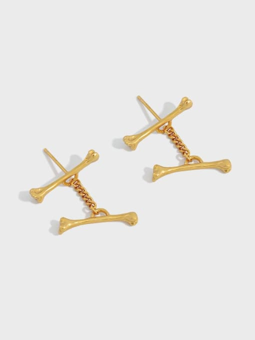 DAKA 925 Sterling Silver Irregular Minimalist Stud Earring