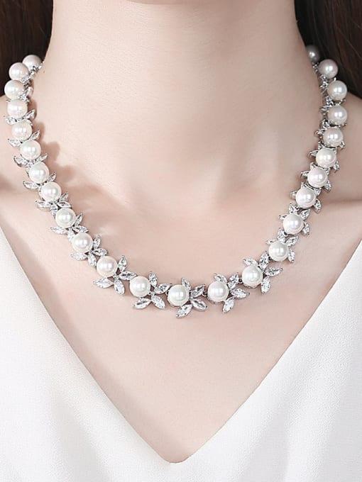 BLING SU Brass Imitation Pearl Flower Luxury Necklace 1