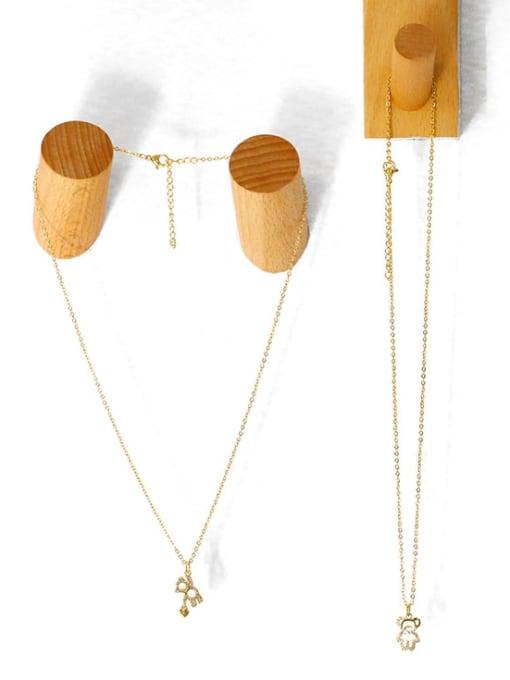 CC Brass Cubic Zirconia  Hollow Bear Minimalist Necklace 3