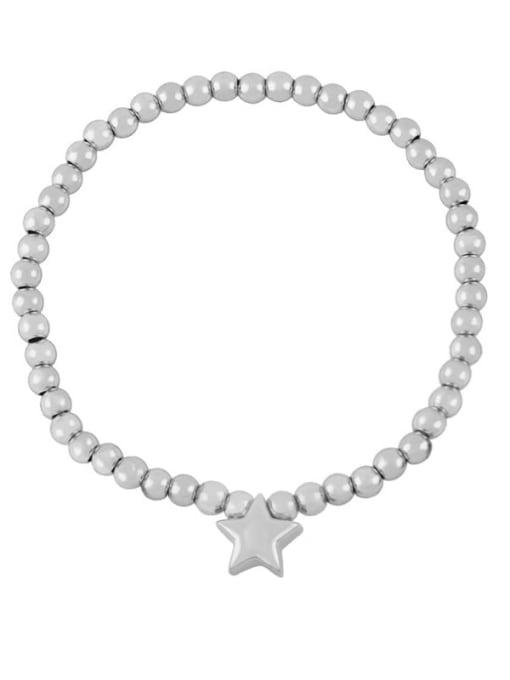 D (steel) Brass Star Minimalist Beaded Bracelet