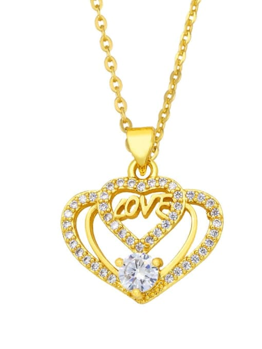 CC Brass Cubic Zirconia Heart Vintage Necklace 1