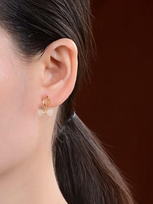DEER 925 Sterling Silver Jade Bowknot Vintage Drop Earring 2