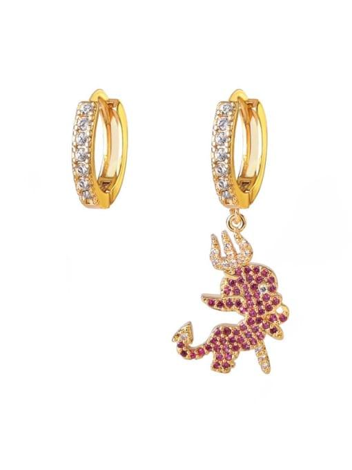 DUDU Brass Cubic Zirconia Irregular Vintage Asymmetry  Huggie Earring
