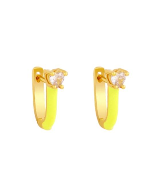 yellow Brass Multi Color Enamel Heart Vintage Huggie Earring
