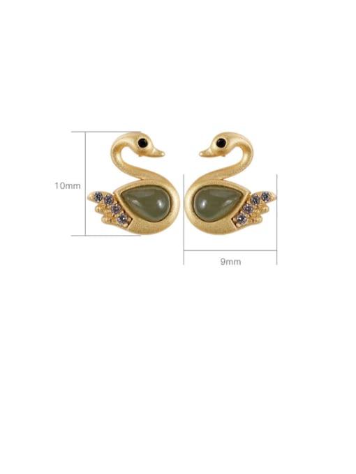 DEER 925 Sterling Silver Jade Swan Vintage Stud Earring 2