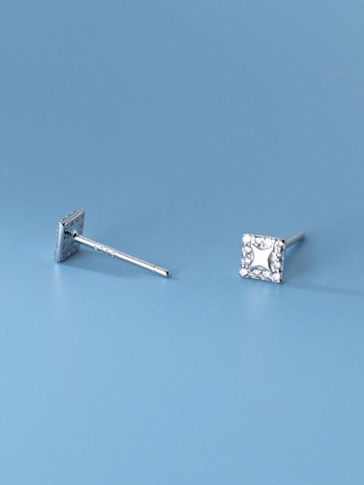 Rosh 925 Sterling Silver Rhinestone Square Minimalist Stud Earring 2