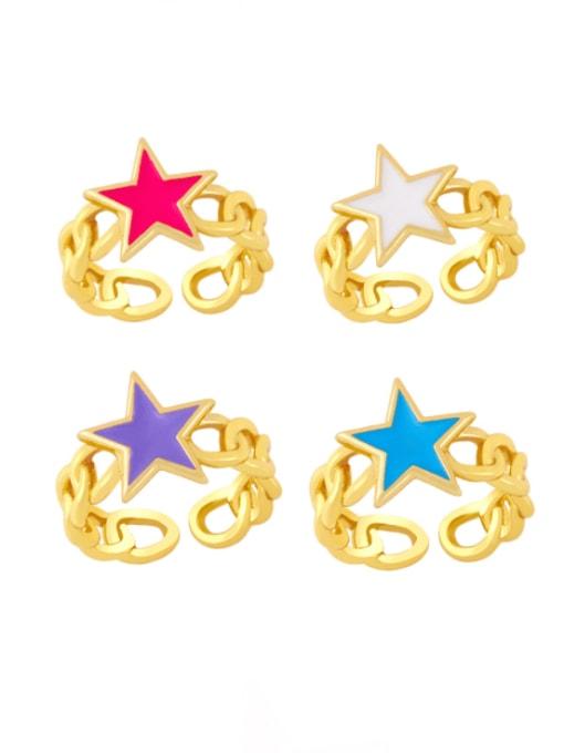 CC Brass Enamel Star Vintage Band Ring 0