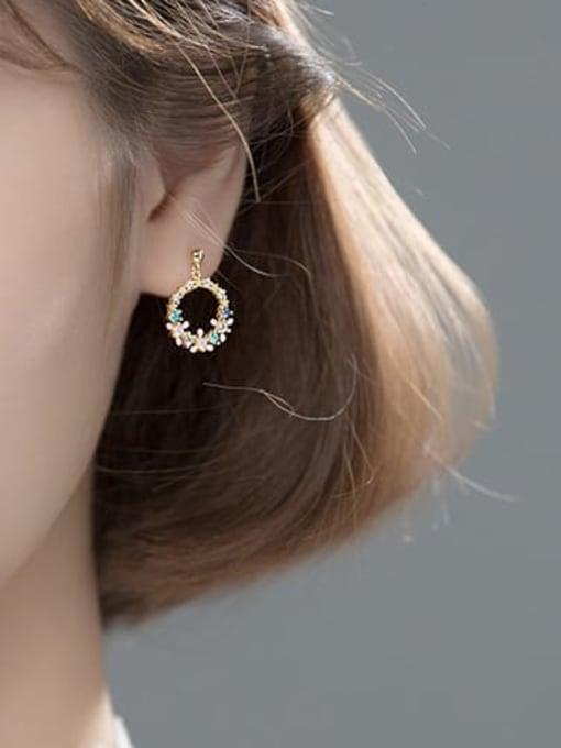 Rosh 925 Sterling Silver Cubic Zirconia Flower Dainty Drop Earring 3