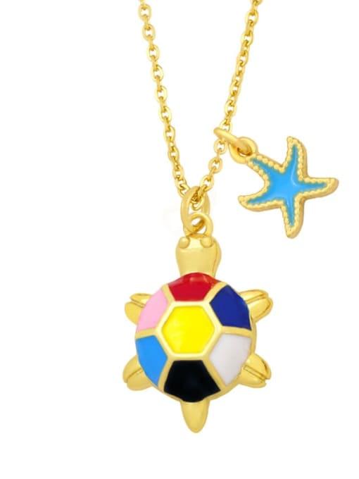 A (yellow) Brass Enamel Star Vintage tortoise Pendant Necklace
