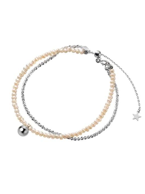 Rosh 925 Sterling Silver Imitation Pearl Round Minimalist Strand Bracelet 2