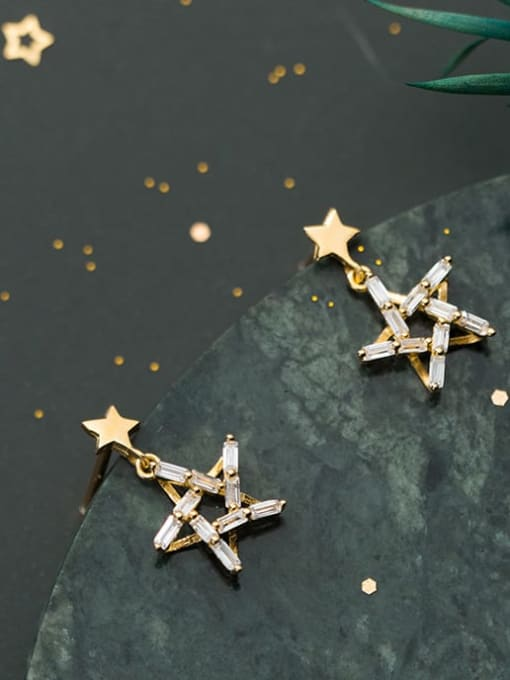 Rosh 925 Sterling Silver Cubic Zirconia Star Minimalist Drop Earring 0