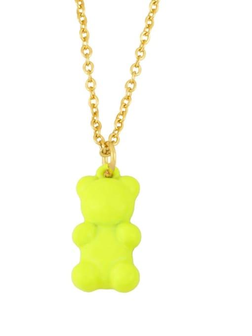 CC Brass Enamel Cute Bear Pendant Necklace