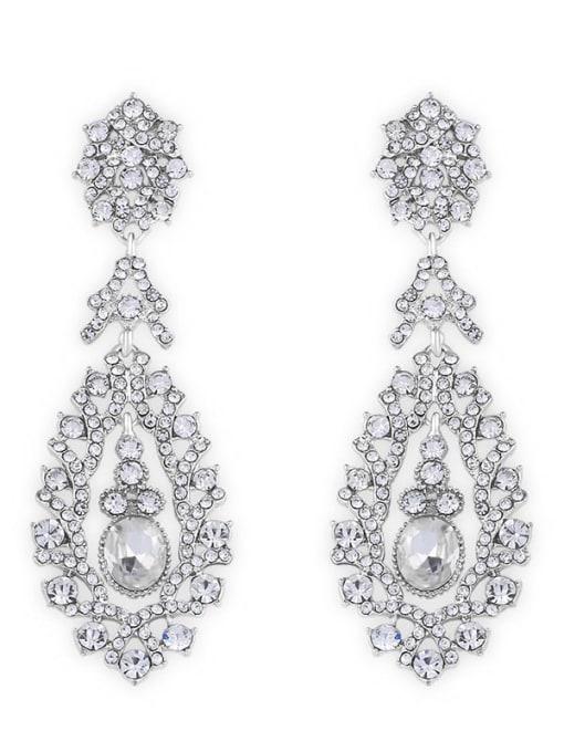 platinum Alloy Cubic Zirconia Water Drop Vintage Drop Earring