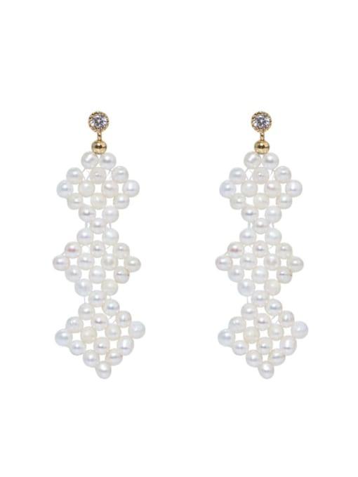 RAIN Brass Freshwater Pearl Geometric Ethnic Drop Earring 0