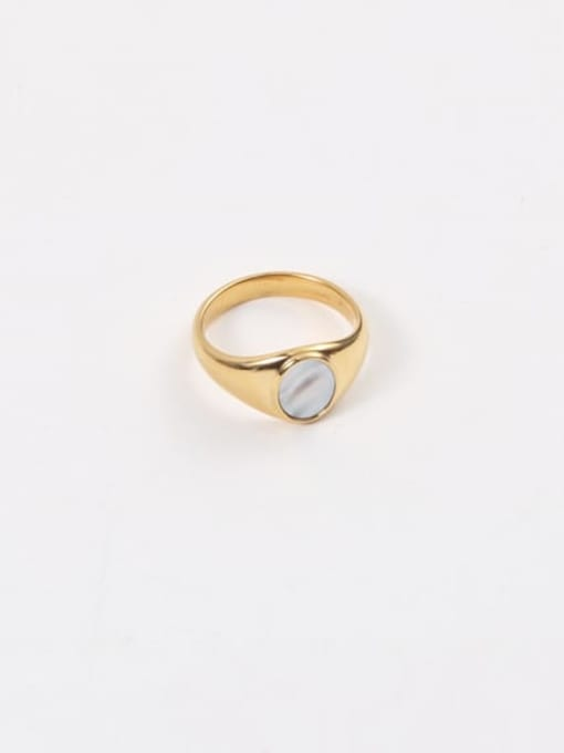 GROSE Stainless steel Shell Geometric Minimalist Band Ring 2