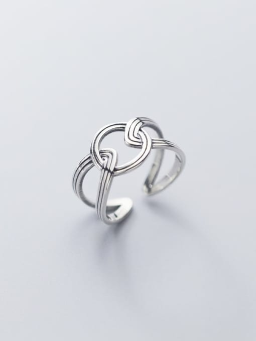 Rosh 925 Sterling Silver hollow Geometric Ethnic Band Ring 2