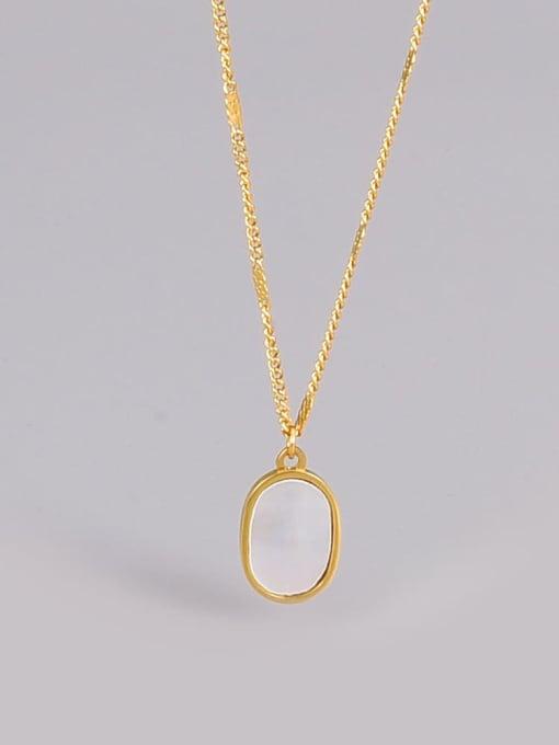 A TEEM Titanium Steel Shell Geometric Minimalist Necklace 0