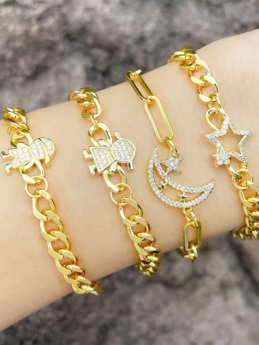 CC Brass Cubic Zirconia Star Trend Hollow Chain Bracelet 1